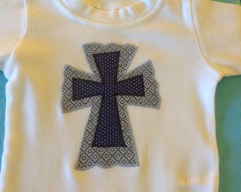 3-6 month pajama romper with cross or name appliqué
