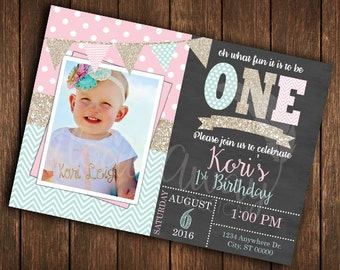 Girl's First Birthday Invitation | Gold Glitter | Teal | Pink