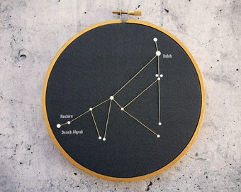 Capricorn constellation star chart in embroidery hoop. Capricorn Zodiac Sign, Capricorn Wall Decor, Astrology Print,  Constellation Print