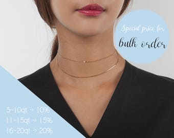 925 Silver - Gold Box Chain Choker Necklace, Sterling Silver Necklace, Rose Gold Chain Necklace,Layered Choker Necklace,Gift for Woman