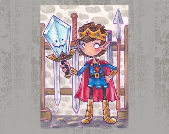 Little Prince and magic sword - Original ACEO, marker illustration