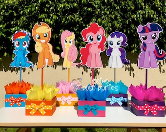My Little Pony Birthday Party Centerpiece Favors Guest Table Decoration for Birthday Party Food Court Candy Buffet My Little Pony SET OF 6