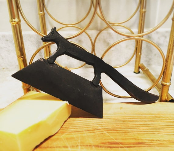 Vintage Wrought Iron Cleaver - Fox Hand Forged Charcoal Black Meats + Cheese Knife - Galeria STL