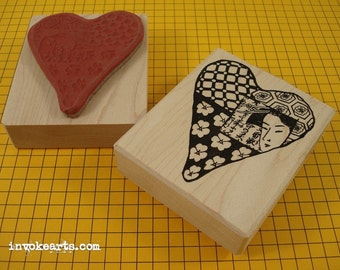 Geisha Heart Stamp / Invoke Arts Collage Rubber Stamps