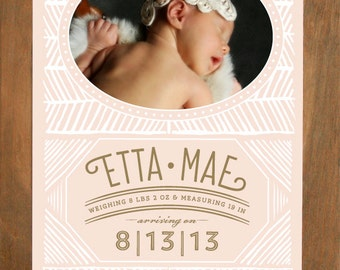 Pattern Photo Birth Announcement (Pen & Ink - No. 3) - Modern, Contemporary