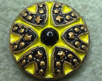 Czech Glass Button 27mm - hand painted - black, yellow, gold (B27325)