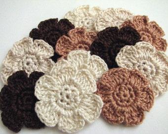 Crochet Flower Appliques - 6 Petal, Flat, Small Flowers in Pretty, Neutral Colors - 12