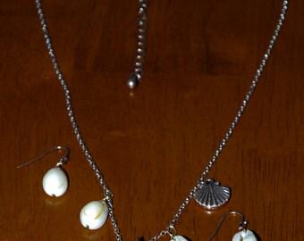 Antique Copper Tone Lemon Beach Sea Glass Cowry Shell Charm Necklace Set
