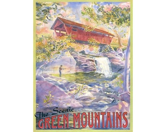 Scenic Green Mountains Vermont Travel Poster