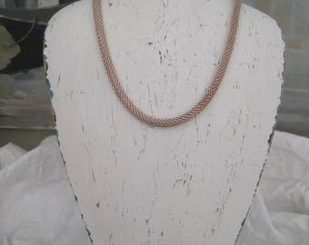 "Sterling Silver Mesh Necklace 17"" Vintage Made in Italy"