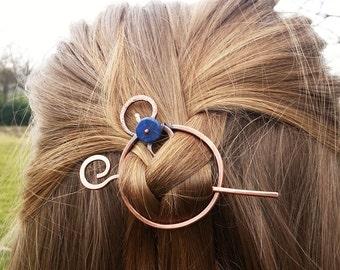 Celtic hair slide Circle hair barrette Hair stick Metal hair pin Rustic copper accessories Shawl pin Womens accessories Womens gift For her