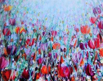 Tangle of Tulips, blank greetings card