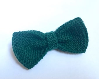 Bottle green knit bow