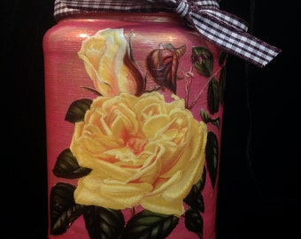 Yellow Rose with Hydrangeas-Decoupaged & Handpainted Upcycled Glass Jar