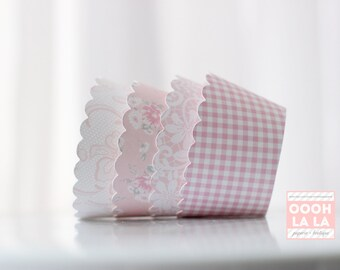 MADE TO ORDER Pretty In Pink Cupcake Wrappers- Set of 12
