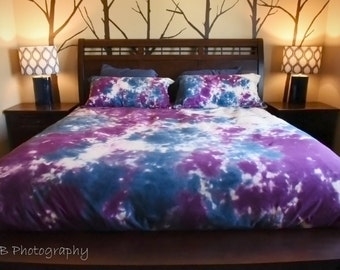 Blue and Purple Duvet Cover-Comforter Cover-Tie Dye Bedding-Scrunch Tie Dye-Blanket Cover-King Queen Full Twin