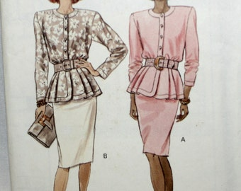 Butterick 3003 Misses Peplum Top and Skirt Sewing Pattern New / Uncut Size 12, 14,16