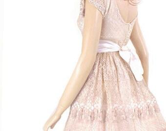 Plus Size Latte romantic bridesmaid / evening /  cotton lace dress