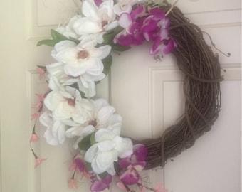 White Flower Wreath.  Purple Flower Wreath.  Pink Flower Wreath. Summer Wreath.  Grapevine Wreath.
