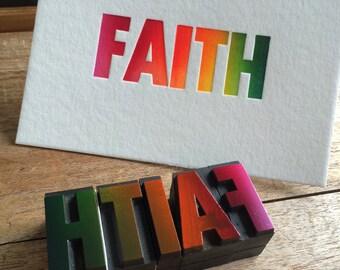 Letterpress typeset wood print - Faith