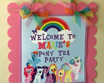 Pony Sign, Friendship Ponies, My lil Pony Birthday, Baby Shower, Welcome Sign, Door Sign, Photo Prop, Pretty Ponies Party Sign, Pony Party