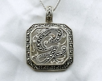 "Retro Art Deco Marcasite Initial ""G"" Sterling Silver Vintage Pendant.  18"" Sterling Chain Included!  #G-SPC5"