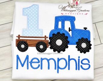 Baby Boy Tractor Birthday Shirt, Custom Embroidered Boy Shirt, Farm Birthday, 1st Birthday Outfit, First Birthday Boy Shirt