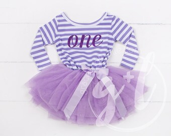 First Birthday outfit dress with purple letters and purple tutu for girls or toddlers Sofia the first, long sleeve birthday outfit