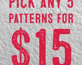 Pick Any 5 Cross Stitch Patterns for 15 Dollars