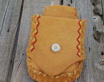 Beaded hip bag ,  Leather hip bag ,  Leather phone bag ,   Leather belt bag , Hip bag
