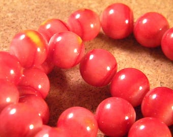 10 glass beads red striped red brick and orange 12 mm PE17