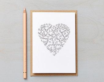Daisy Chain Heart Card. Love card, valentines card, anniversary card or wedding day card