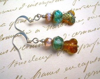 Czech Picasso Bead Dangle Earrings With Silver, Topaz & Blue