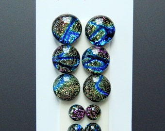 Dichroic Glass Cabs - Lot of Five Matching Pairs - Lot number 33 - Crinklized Dichro