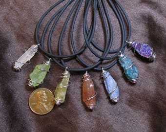1  Small Crystal/ Mineral Shard Necklace- Cage Wrapped Pendant- Rough, Raw Selenite/Calcite (Green, gold, red)/Kyanite/Apatite/Chalcopyrite
