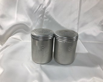Vintage Large Aluminum Salt and Pepper Shakers Stove Top