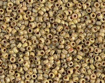 Canary Yellow Picasso Size 11/0 Miyuki Rocaille Seed Beads - 15 grams - Canary Yellow Picasso 11/0 Round Seed Beads - 2090 - 11-4512