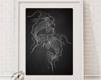 Koi Fish swimming up LARGE INSTANT Printable, Digital DOWNLOAD, Chalkboard 11x14 Poster Size Print