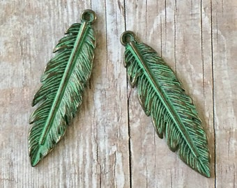 Feather Turquoise GREEN Patina Pewter Charms (Two Pieces)