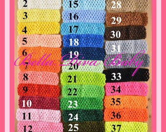 """SUPER SALE Crochet Headbands 1.5"""" - 38 NEW Colors to make flower or feathers headbands, tutu skirts -baby- girls,  toddler-adults"""