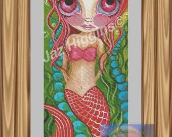 Crimson mermaid cross stitch PDF chart only