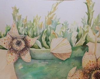 cactus handmade waterclour print