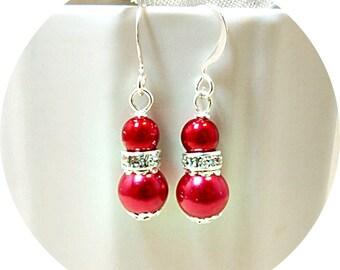 Red Earrings, Red Bridesmaid Earrings, Red Dangle Earrings, Valentines Day, Red Dressy Earrings, Pearl Rhinestone, Bright Red Earrings