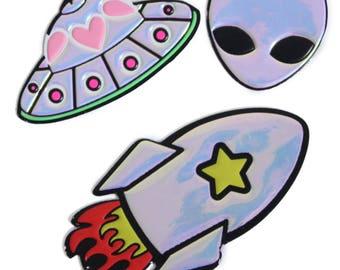 Spaceship sticker, alien sticker, rocket sticker, puffy sticker