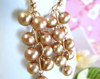 Gold pearl cluster chandelier earrings, bohemian chic gold pearl dangle earrings