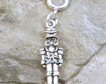 Sterling Silver Nutcracker Charm - Fits Both Traditional and European Charm Bracelets - 0496