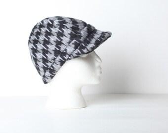 Vintage Women's Herringbone Jockey Hat, Driving Cap
