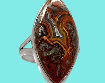 Laguna Crazy Lace Agate Marquise Ring Size 7-1/2 for clarity of vision, meditation, and self-forgiveness.