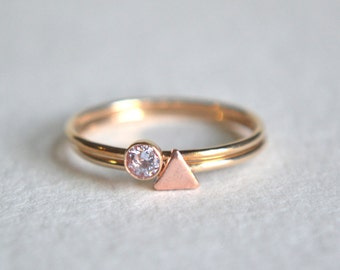 Set of Two Gold Filled Rings, Triangle Ring, Gold Stacking Ring, Dainty Ring, Stackable Ring, Copper Triangle Ring, Gold Stacking Ring