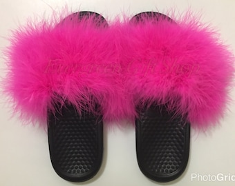 c2e1b0b51d593 ... germany furry nike slides hot pink custom nike flip flops nike fur  sandals slipper fur flip